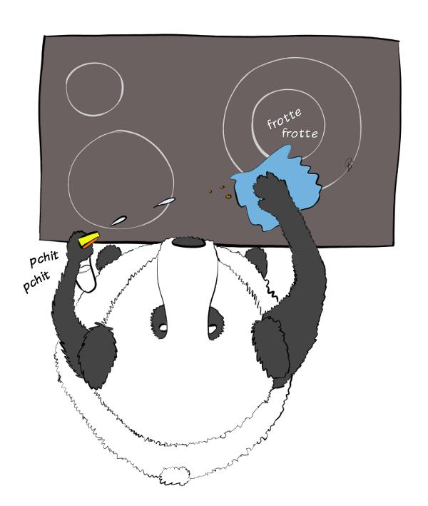 Case de BD : Moustache le panda utilise un 'pchit' nettoyant et un chiffon en microfibres pour nettoyer la plaque de cuisson