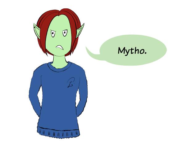 Case de BD : puis elle comprend que Moustache lui fait une blague, alors elle lui dit 'Mytho.'