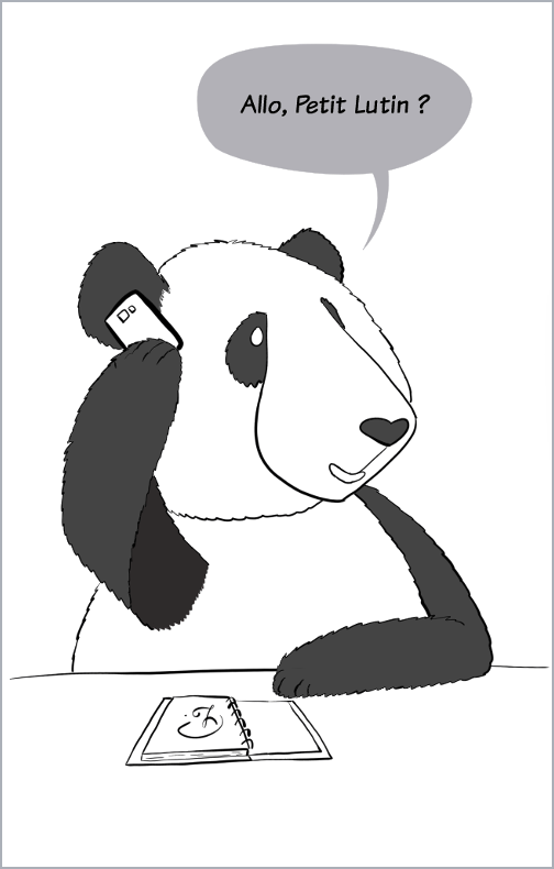 """moustache le panda téléphone à petit lutin """"allo, Petit Lutin ?"""""""