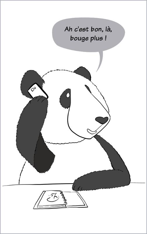 """Moustache le panda, dit à Petit Lutin au téléphone, dit """"ah c'est bon, là, bouge plus !"""""""