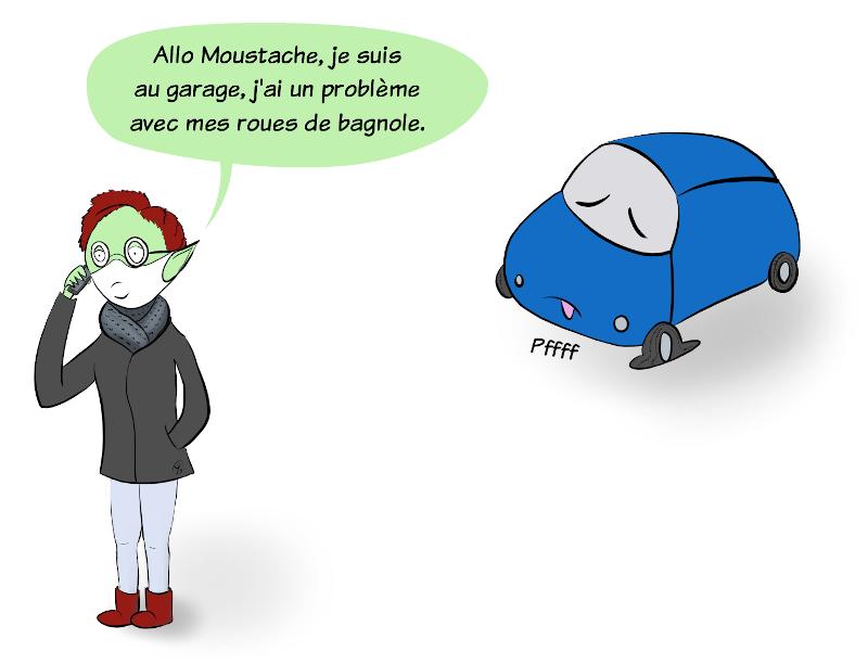 Case BD : Petit Lutin téléphone à Moustache le panda. Elle lui dit qu'elle est au garage parce qu'elle a un problème avec ses roues de bagnole. En arrière-plan, la Lutinmobile a un pneu complètement à plat.