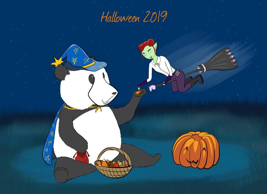Même contenu mais version 2019, Moustache le panda ressemble un peu plus à un panda, sa fourrure est bien dessinée, il porte un chapeau et une cape de sorcier, Petit Lutin est sur son balai et elle tend la main vers la patte de Moustache pour attraper un bonbon et du chocolat.