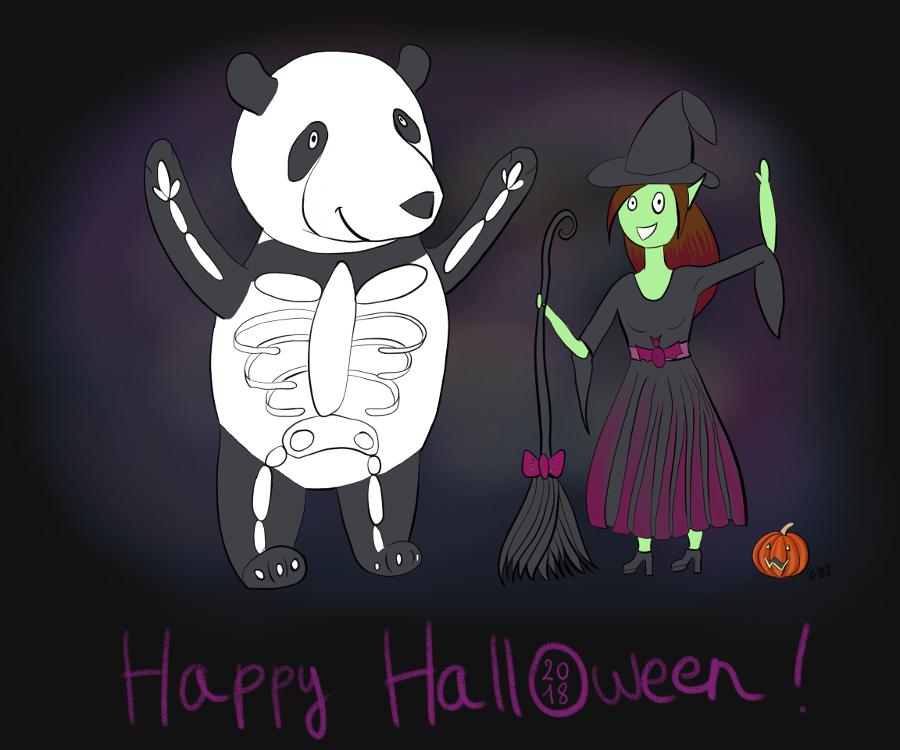 Illustration de 2018 : Moustache le panda est déguisé en squelette et Petit Lutin est déguisée en sorcière