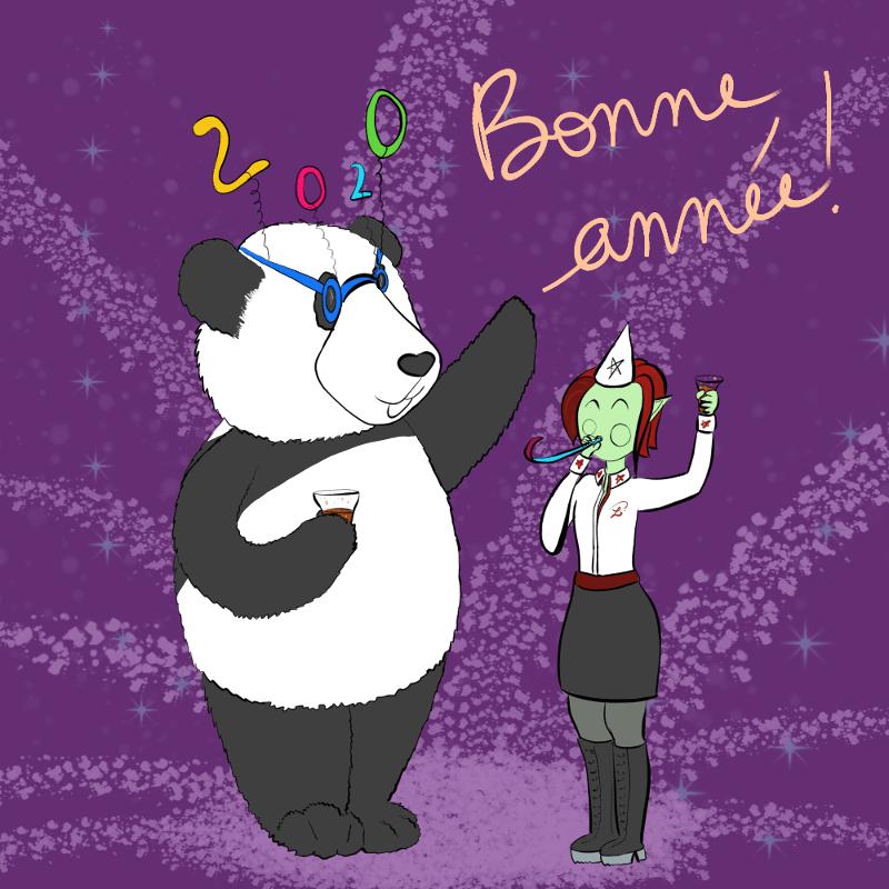 illustration : Moustache le panda et Petit Lutin en tenue de fête (chemise blanche, jupe noire et New Rock) ont un verre de coca à la main, et ils disent Bonne année 2020