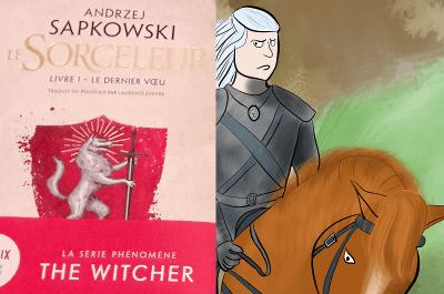 """à gauche : photo du livre """"le dernier voeu"""", tome 1 du Sorceleur, à droite : illustration de Geralt de Riv"""