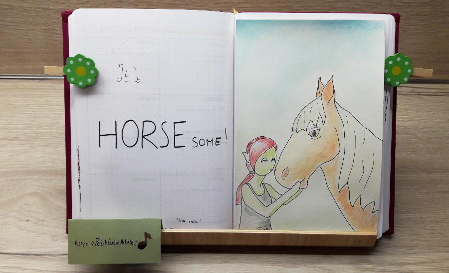 Belette Journal, mon bullet journal de juillet 2019, page de gauche j'ai écrit 'It's HORSEsome',                          et à droite Petit Lutin fait un bisou à un cheval alezan crin lavé