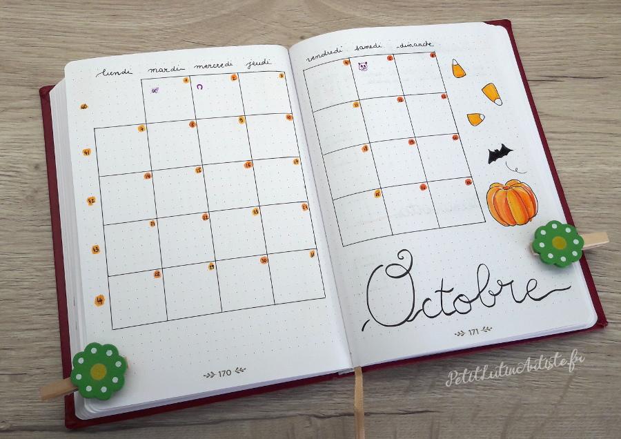Belette Journal, mon bullet journal d'octobre 2019, calendrier mensuel