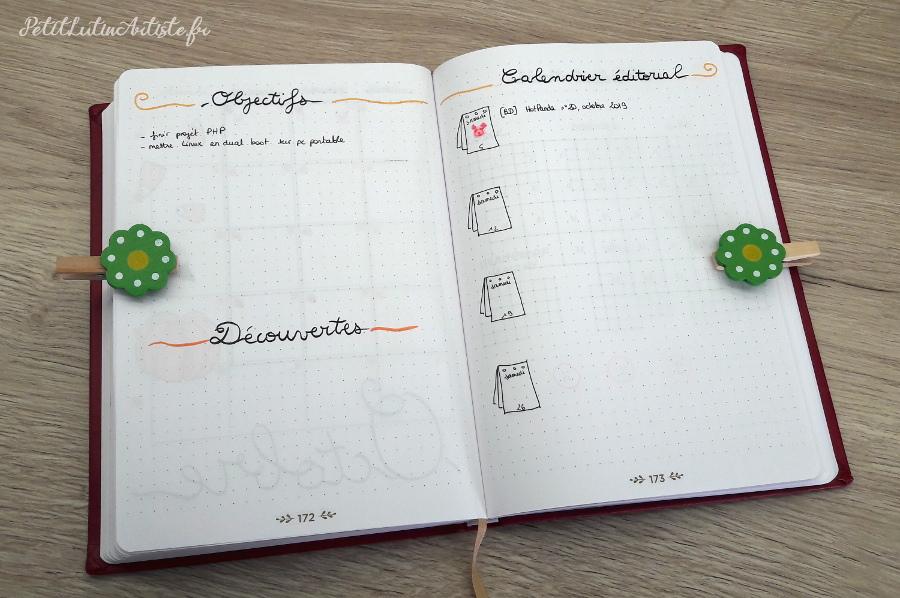 Belette Journal, mon bullet journal d'octobre 2019, page de gauche mes objectifs et découvertes, page de droite le calendrier éditorial de ce blog