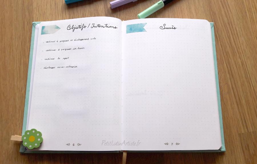double page objectifs/intentions, succès et découvertes dans mon bullet journal