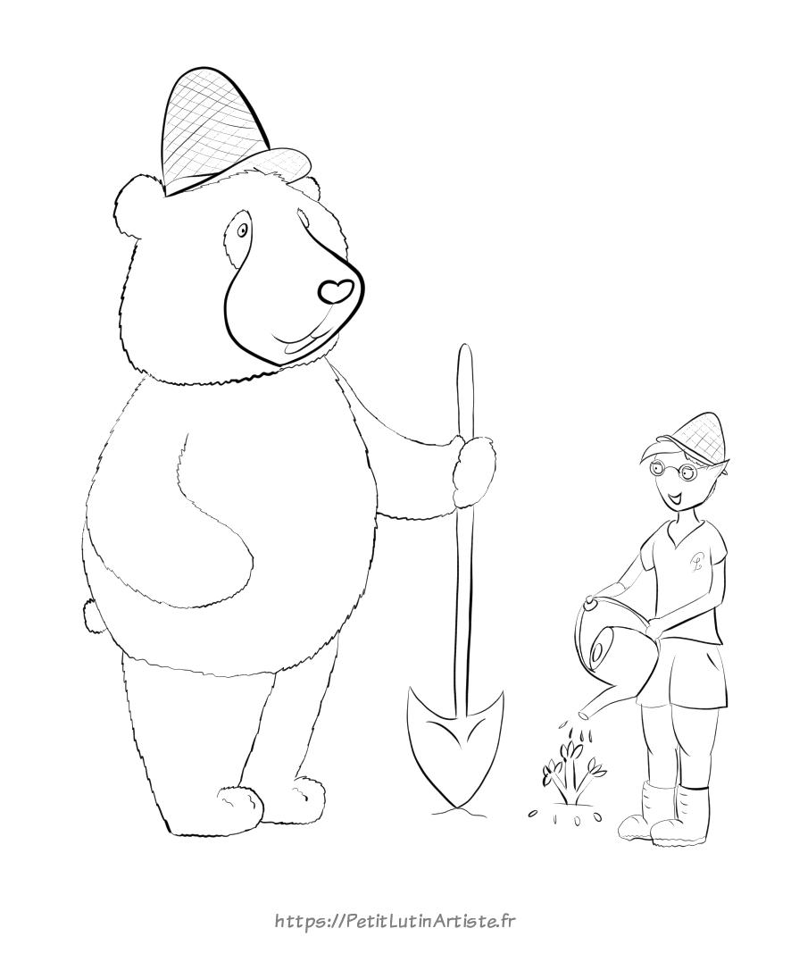 coloriage à télécharger de Moustache le panda et Petit Lutin en train de jardiner