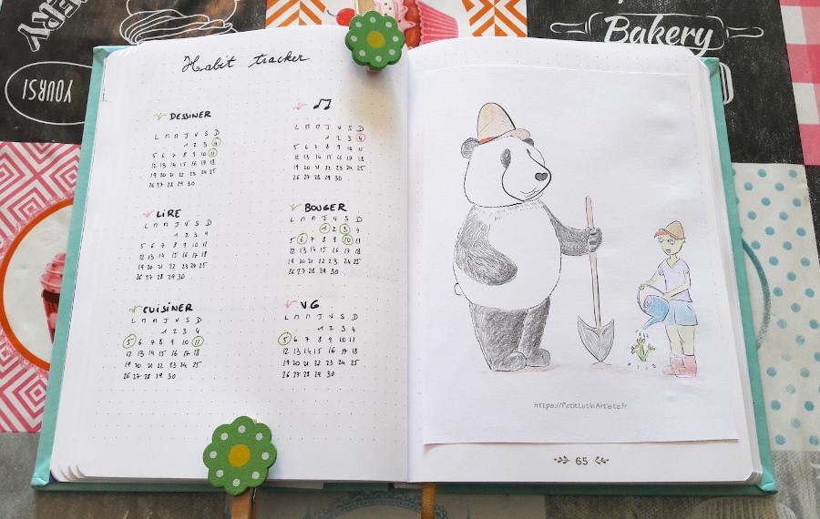Belette journal : à gauche la liste des bonnes habitudes que j'aimerais reprendre pour le mois, à droite une illustration de Petit Lutin et Moustache le panda en train de jardiner