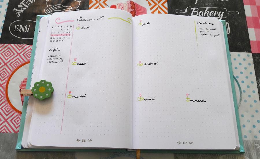 Belette journal : double page de la semaine, à gauche dans la marge les choses à faire, à droite la liste des repas à préparer