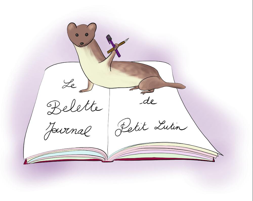 """dessin d'une belette sur un journal, avec écrit """"le bullet journal de Petit Lutin"""""""
